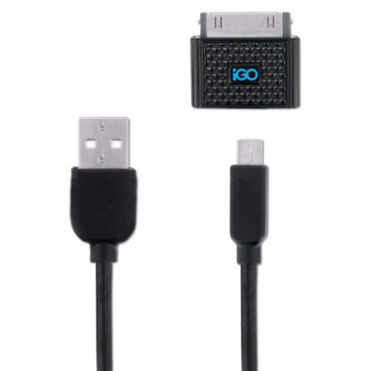Picture of Trade iGo Universal 1.2m Charge and Sync Cable for Micro USB, Mini USB and Apple 30 Pin Devices in Black