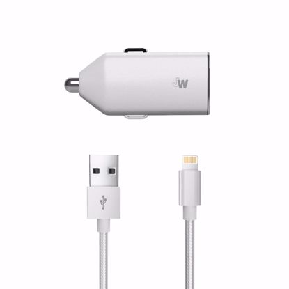 Picture of Just Wireless Just Wireless 2.4A Car Charger with Apple Lightning Braided Cable in Silver