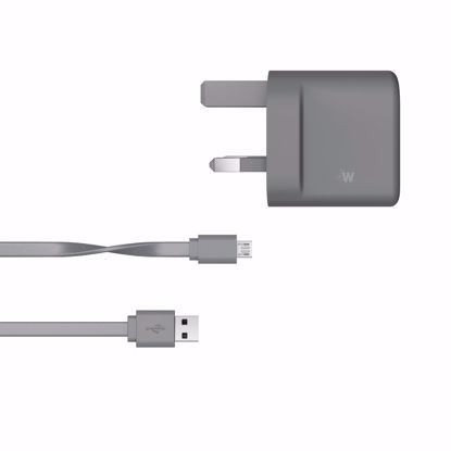 Picture of Just Wireless Just Wireless 3.1A UK Dual Mains Charger with 2m Micro USB Cable in Grey